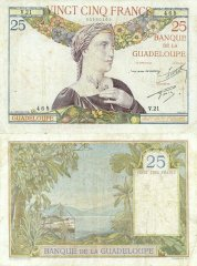 Guadeloupe 25 Francs Banknote, 1934, P-14a.1