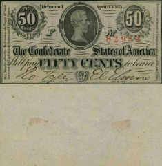 Confederate States of America 50 Cents Banknote, 1863, P-56