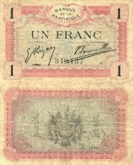 Martinique 1 Franc Banknote, 1915, P-10a.1