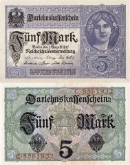 Germany 5 Mark Banknote, 1917, P-56a.1