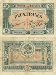 Guadeloupe 2 Francs Banknote, 1920, P-13