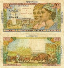 Martinique 5 Francs Banknote, 1960, P-38