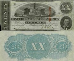 Confederate States of America 20 Dollars Banknote, 1863, P-61b