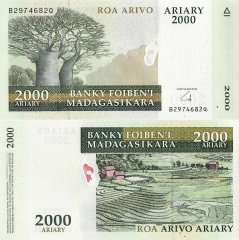 Madagascar 2,000 Ariary Banknote, 2008, P-96a