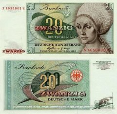 Germany/Federal Republic 20 Deutsche Mark Banknote, 1960, P-29 C