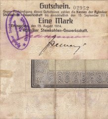Germany/Notgeld 1 Mark Banknote, 1914, P-Die:093.1a