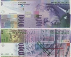 Switzerland 1,000 Francs Banknote, 1999, P-74b.2