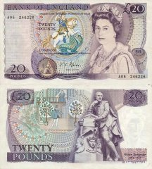 Great Britain/England 20 Pounds Banknote, 1970, P-380a