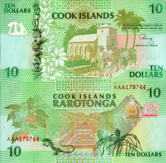 Cook Islands 10 Dollars Banknote, 1992, P-8a