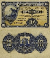 Gibraltar 10 Shillings Banknote, 1937, P-14a