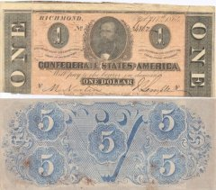 Confederate States of America 5 Dollars Banknote, 1864, P-59c