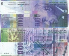 Switzerland 1,000 Francs Banknote, 2012, P-74d.2