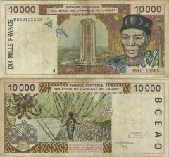 West African States 10,000 Francs Banknote, 1998, P-914Sc