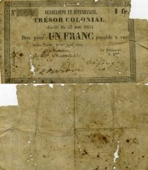 Guadeloupe 1 Franc Banknote, 1863, P-A12