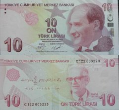 Turkey 10 Turkish Lira Banknote, 2017, P-223c