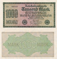 Germany 1,000 Mark Banknote, 1922, P-76a.2