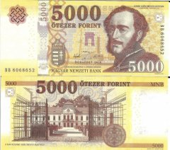 Hungary 5,000 Forint Banknote, 2016, P-UNLISTED