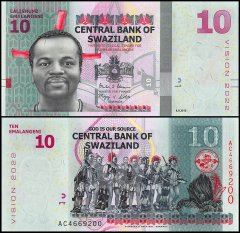 Swaziland 10 Emalangeni Banknote, 2015, P-41