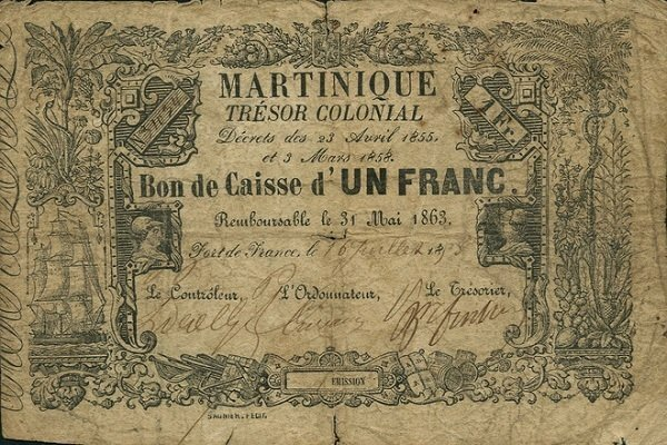 1 Franc Martinique's Banknote