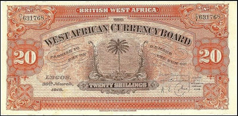 20 Shillings British West Africa's Banknote