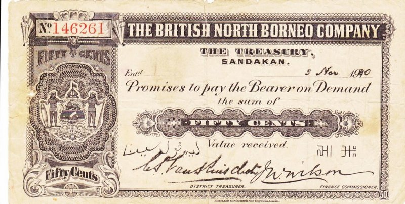 50 Cents British North Borneo's Banknote