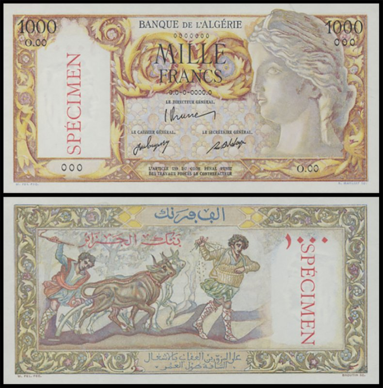 Algeria 1,000 Francs Banknote, 1947, P-104as