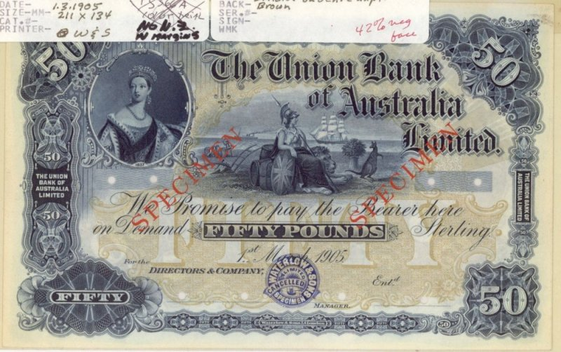 Australia 50 Pounds Banknote, 1905, P-UNLISTED