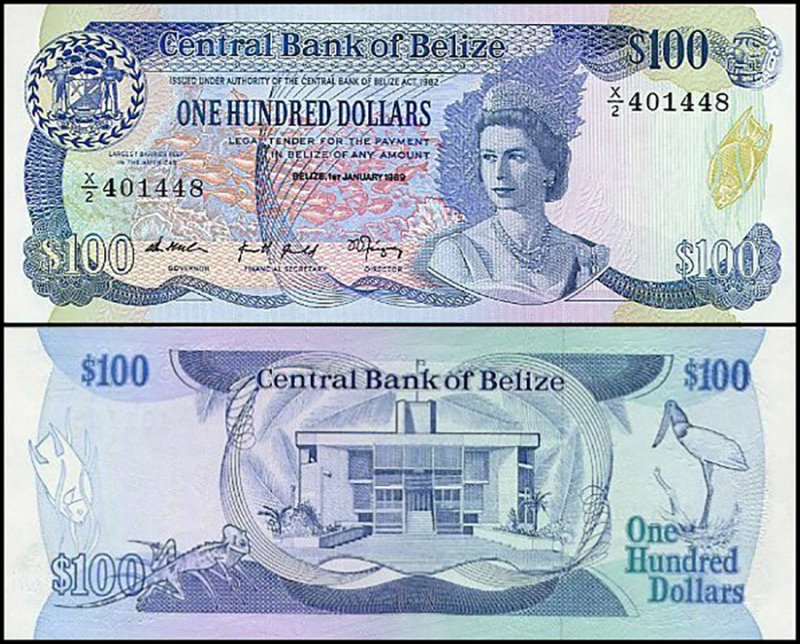 Belize 100 Dollars, 1989, P-50b