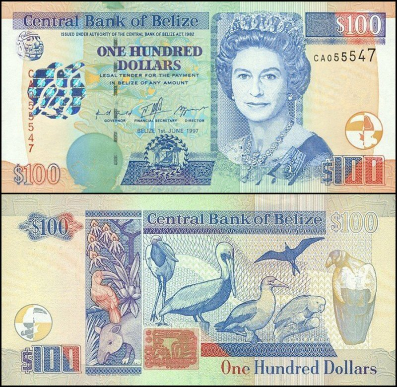 Belize 100 Dollars, 1997, P-65