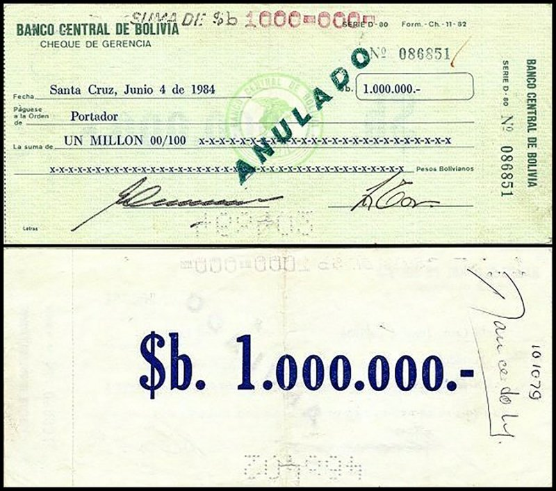 Bolivia 1 Million Pesos Bolivianos, 1984, P-178b