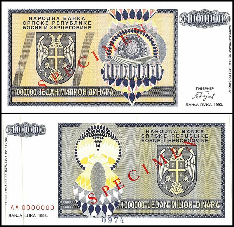 Bosnia & Herzegovina 1 Million Dinara, 1993, P-142s