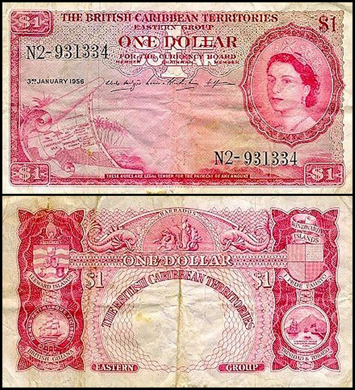 British Virgin Islands 1 Dollar, 1956, P-7b.3