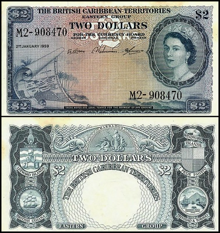 British Virgin Islands 2 Dollars, 1959, P-8b.6