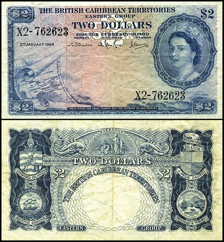British Virgin Islands 2 Dollars, 1964, P-8c.4