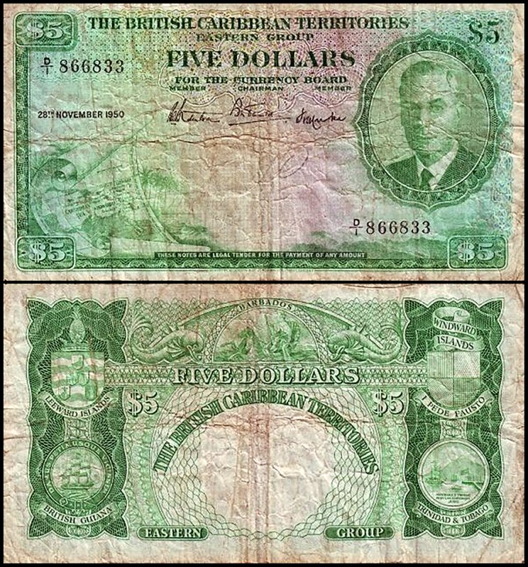 British Virgin Islands 5 Dollars, 1950, P-3a.1