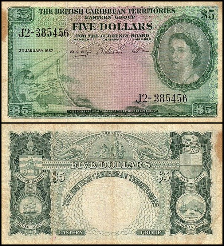 British Virgin Islands 5 Dollars, 1957, P-9b.3