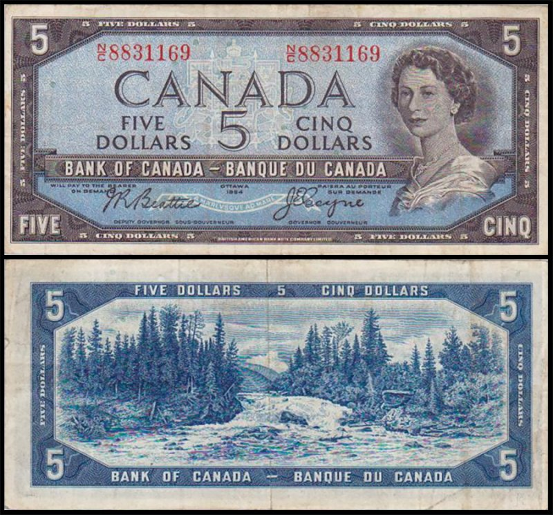 Canada 5 Dollars Banknote, 1955, P-77a