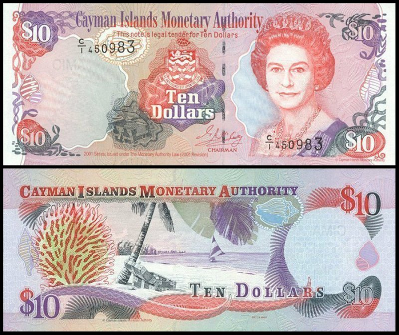 Cayman Islands 10 Dollars, 2001, P-28a