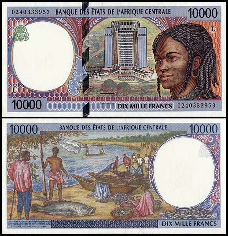 Central African States 10,000 Francs, 2002, P-405Lg