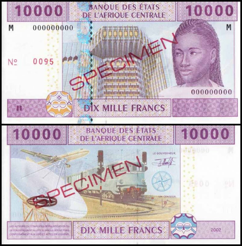 Central African States 10,000 Francs, 2002, P-610s