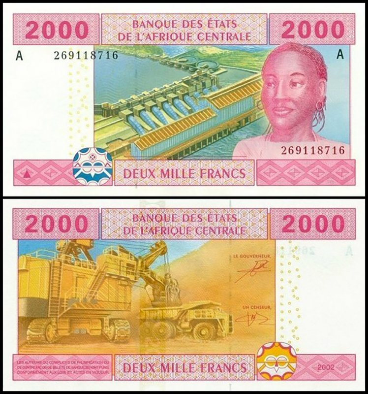Central African States 2,000 Francs, 2002, P-408Aa.2