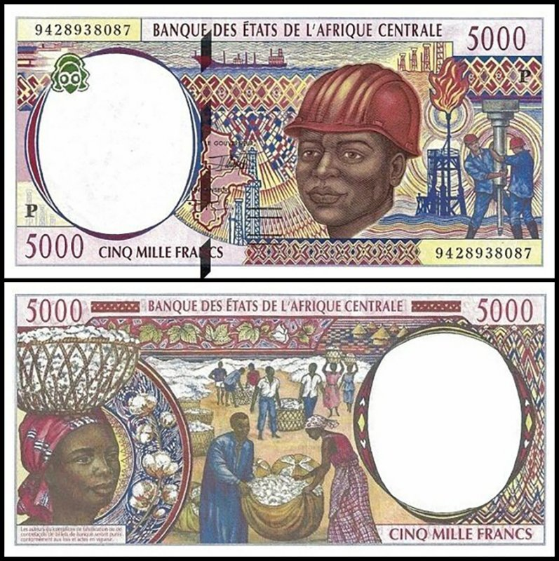 Central African States 5,000 Francs, 1994, P-604Pa