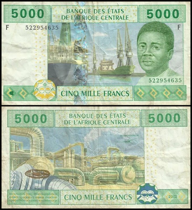 Central African States 5,000 Francs, 2002, P-509Fc