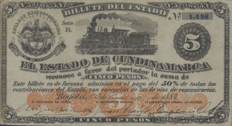 Colombia 5 Pesos Banknote, 1884, P-S177