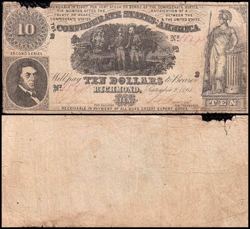 Confederate States of America 10 Dollars, 1861, P-29b