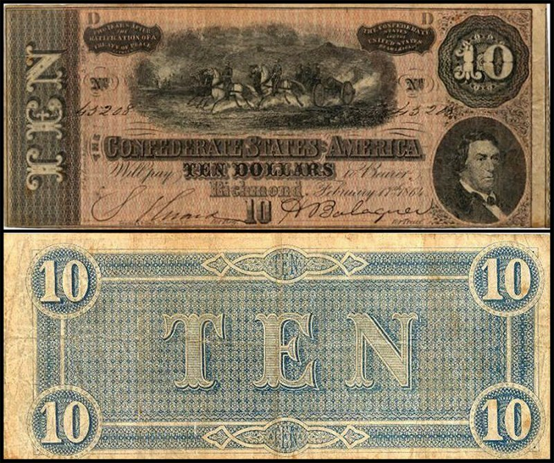 Confederate States of America 10 Dollars, 1864, P-68
