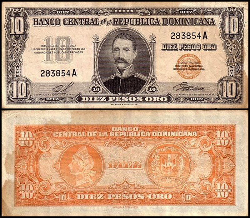 Dominican Republic 10 Pesos Oro, 1958, P-82