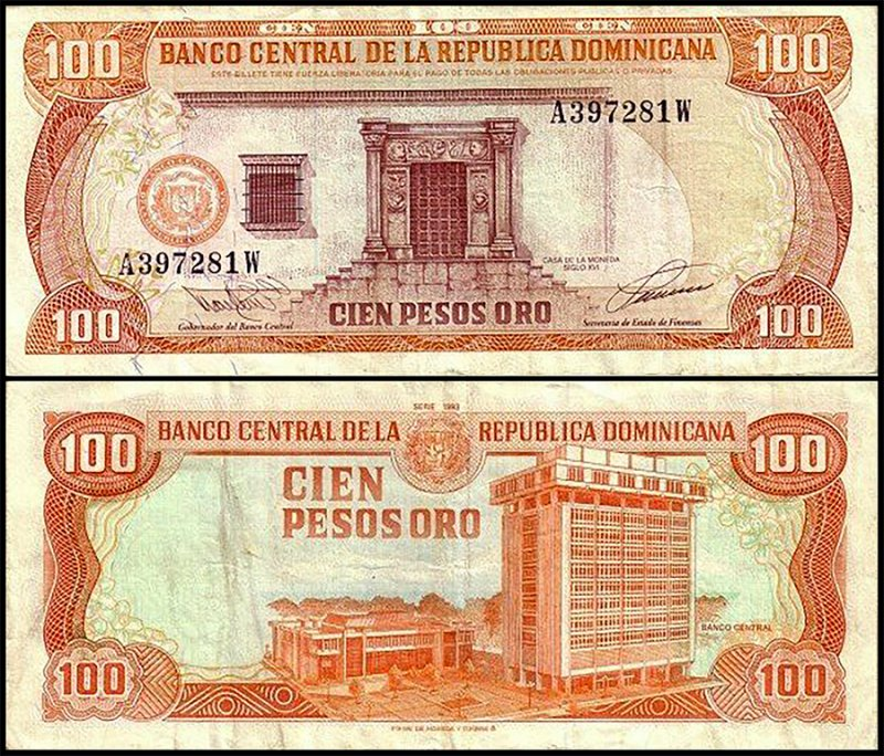 Dominican Republic 100 Pesos Oro, 1993, P-144