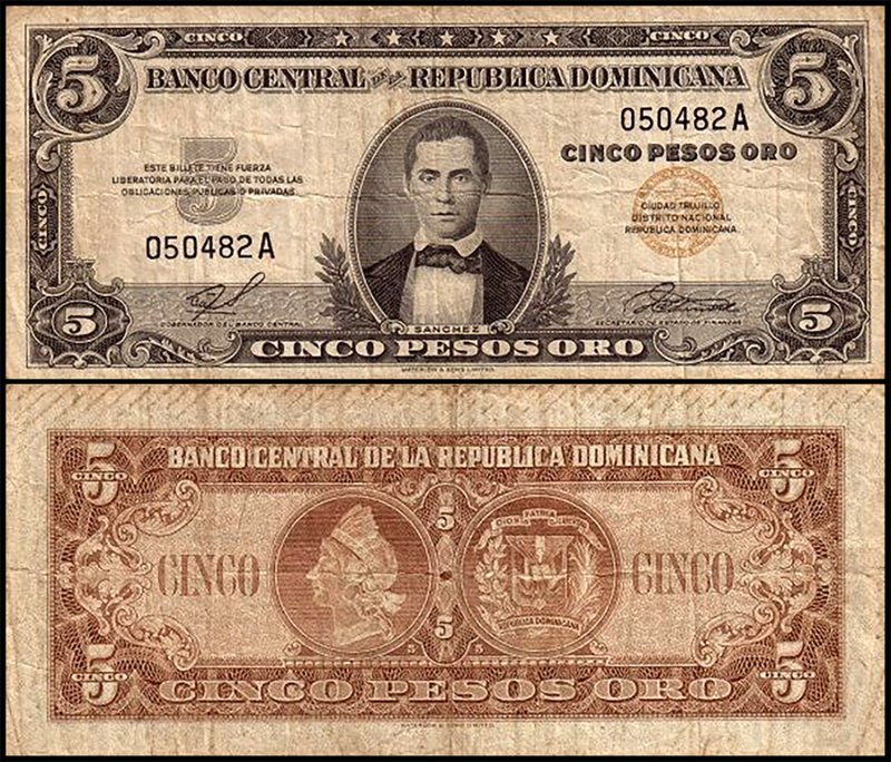 Dominican Republic 5 Pesos Oro, 1958, P-81