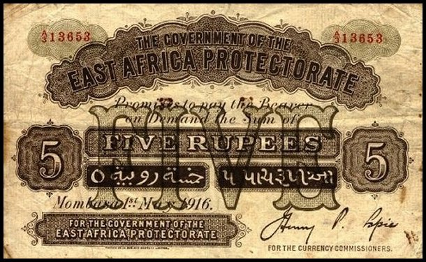East Africa 5 Rupees Banknote, 1916, P-2a